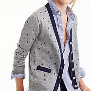 J Crew Harlow Cardigan Sweater Merino Wool Stars